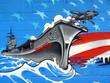 Quadro Graffiti Flugzeugträger
