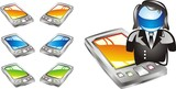 A modern pocket pc or smartphone icon set . poster