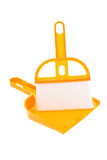 Plastic dust pan and brush on white background poster