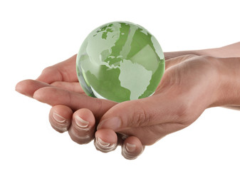 Protecting the earth concept, globe in womans hands
