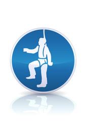 Panneau de protection obligatoire des chutes (reflet métal)