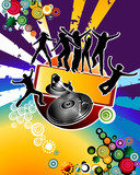Party; young adults silhouettes at weekend party poster