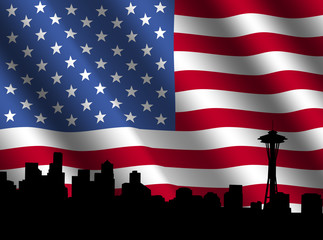 Seattle skyline with rippled American Flag illustration