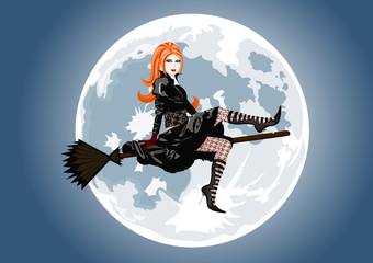 Beautiful witch sitting on broom on full moon background