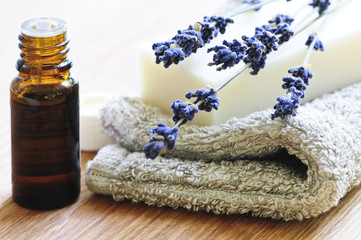 Bar of natural aromatherapy soap with dried lavender