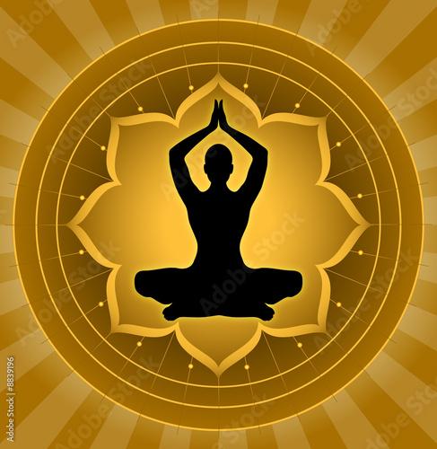 Yoga - Meditation On Lotus Background