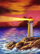 Lighthouse over a gorgeous sunset. Mixed media illustration