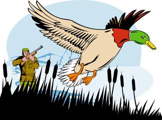 Hunter shooting duck