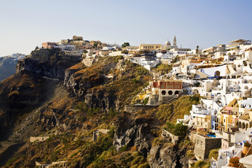 Fira Town, Cliff Top View, Santorini, Greece