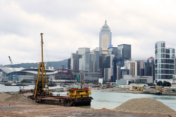 Hong Kong Skyline under construction.