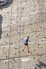 climbing on an artificial training wall