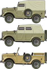 Vector retro jeep set