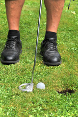 Man is having success with a hole in one