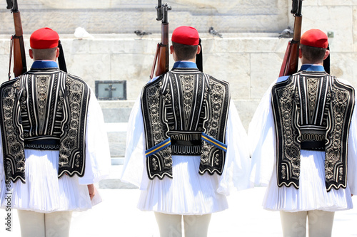 Staande foto Athene ceremonial changing three guards in Athens, Greece