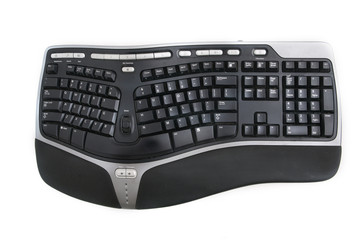 Isolated ergonomic keyboard shot over white background