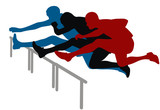 Abstract vector illustration of hurdle race poster
