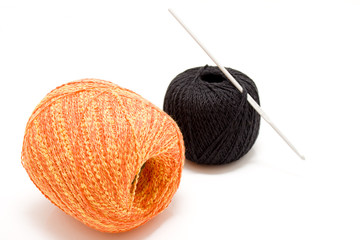 Two balls with crochet hook