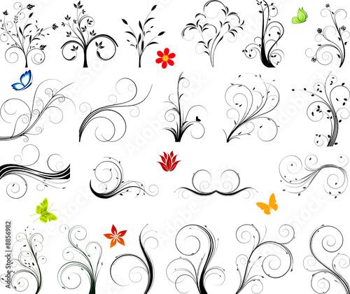 Floral vector design set
