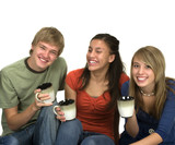 Fototapety Diverse group of happy students drinking coffee/tea