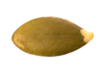 Isolated macro image of a pumpkin seed.
