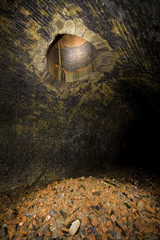 Old ventilation shaft and rubble in Tunnel
