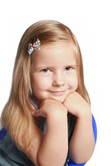Smile of the beautiful 4-years old girl with long hair
