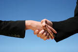 Businessman and businesswoman handshaking for agreement poster