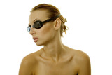 Sexy woman wearing black goggles poster