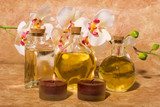 Essential body massage oils in bottles for bodycare poster