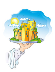 dish with houses (rastered illustration)