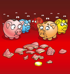 pigs-coin boxes (rastered illusration)