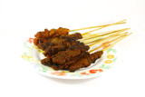 Grilled Meats Skewered on Bamboo Sticks Commonly Found in Asia poster