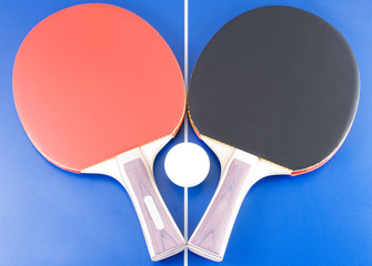 Equipment for table tennis - two rackets, ball, table. 5