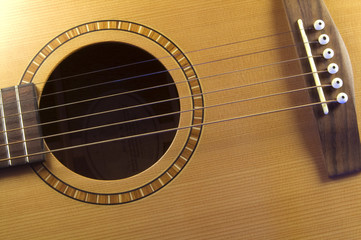 A photograph of a guitar strings closeup