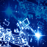 Musical notes on a glittering and dark background poster