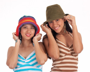 Gorgeous young girls wearing hat - green and rainbow color