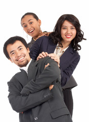 optimistic young businesspeople on a white background