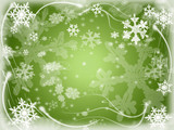 white snowflakes over green background with feather corners