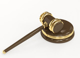 Symbol of justice - judicial 3d gavel. Object over white poster
