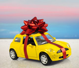 car with staple gift on surreal background poster