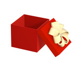 Opened gift 3d box of red color. Object over white poster