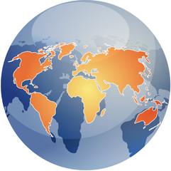 Map of the world illustration, on glossy spherical globe