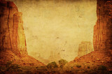 Grunge image of Monument Valley landscape.