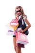 Close-up of happy young woman on a shopping spree.