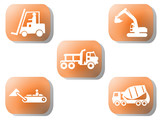 Orange construction buttons cement mixer truck excavator