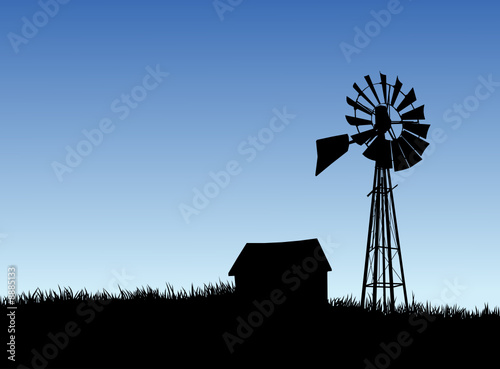 Farm House and Windmill Silhouette