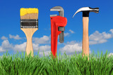 Household Home Improvement Tools in Outdoor Setting poster