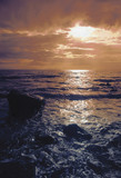 wales gwynedd barmouth bay sunset over sea poster