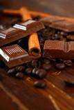 Fototapety schokolade,zimt,kaffeebohnen