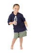 Happy mixed race boy dancing with bottle of water